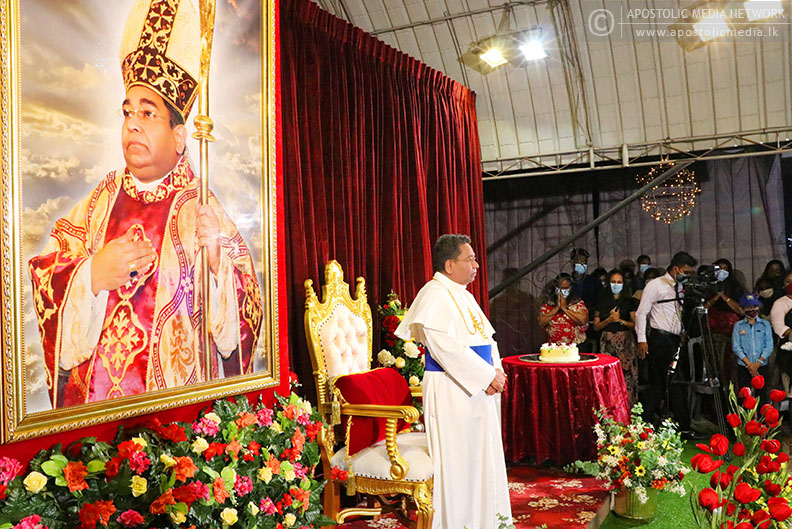 Devotees flock to Our Lady of Katunayake's Shrine at midnight to celebrate the Birth of the Holy Apostle who was born 64 years ago